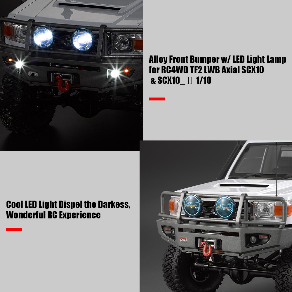 Alloy Front Bumper w LED Light Lamp for RC4WD TF2 LWB Axial SCX10 SCX10 2 1