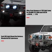 Alloy Front Bumper w LED Light Lamp for RC4WD TF2 LWB Axial SCX10 SCX10 2 1:10 RC Crawler Truck SUV RC Cars Parts