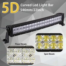 HELLO EOVO 5D 22 inch Curved LED Light Bar for Work Driving Offroad Boat Car Tractor Truck 4×4 SUV ATV 12V 24v