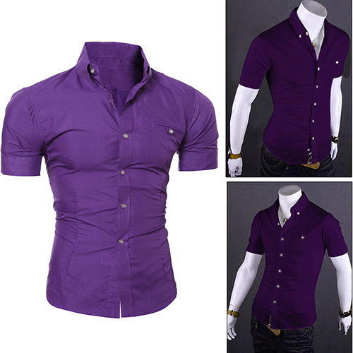 2018 Newest Men 'S Bussiness Lapel Button Down Short Sleeve Top Blouse Casual Solid Shirt