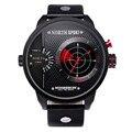 2016 nuevos relojes de los hombres militar north doble barrido del radar movimiento de cuarzo reloj de pulsera deportivo de cuero para hombre reloj de la manera con la caja