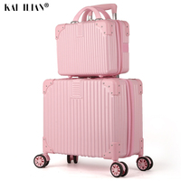 2PCS/SET 18 inch Suitcase on wheels 14''Cosmetic bag Travel Spinner trolly bags Rolling luggage Student Women Cabin suitcase men