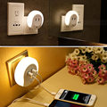 Smart Design LED Night Light with Light Sensor & Dual USB Wall Plate Charger for Bathrooms
