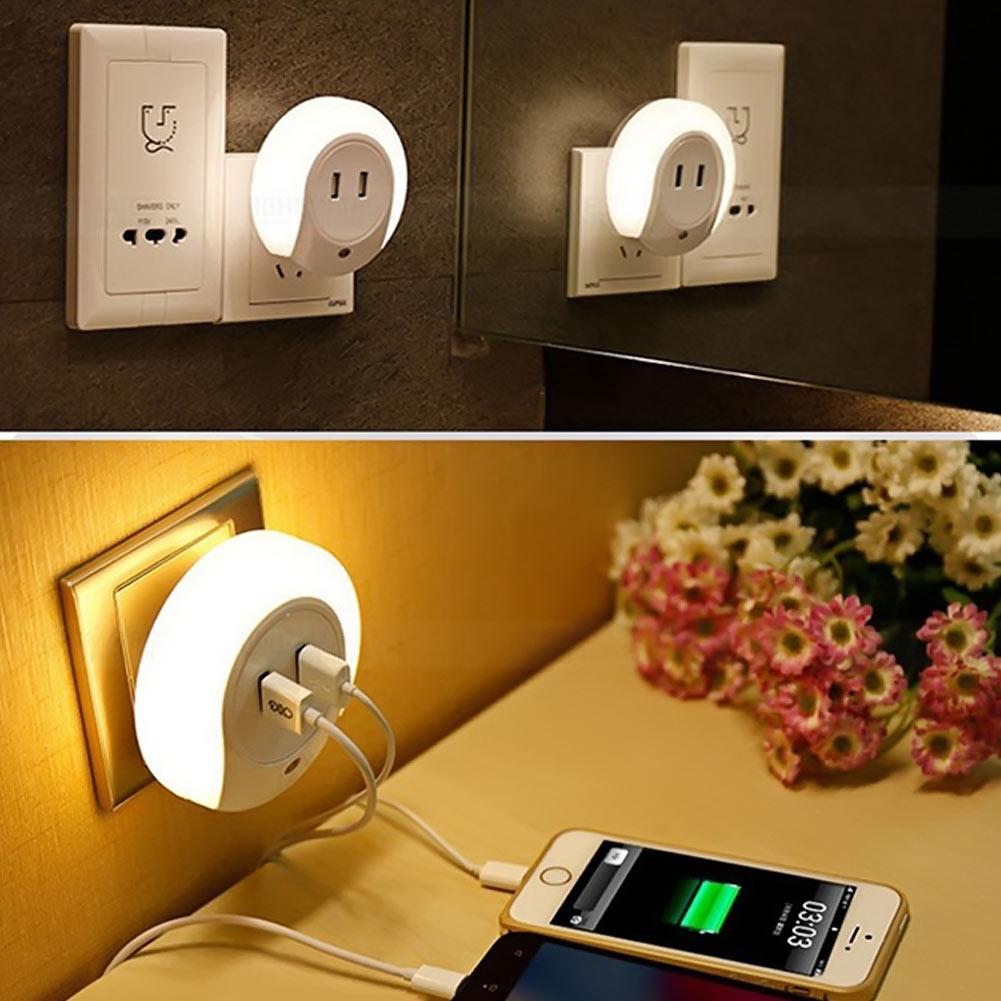 Led night light bathroom - Smart Design Led Night Light With Light Sensor Amp Dual Usb Wall Plate Charger For