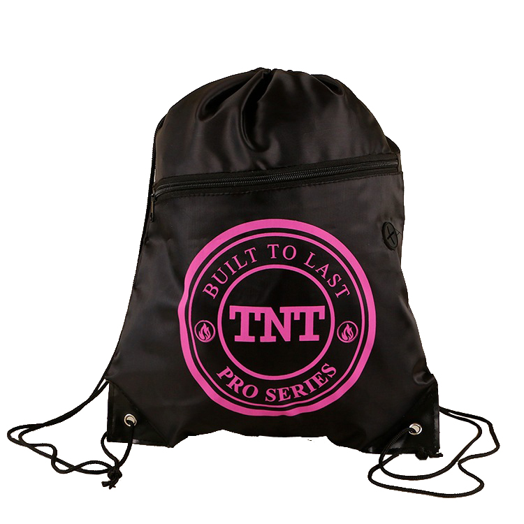 34 43cm 210D polyester drawstring bags with front zipper pocket