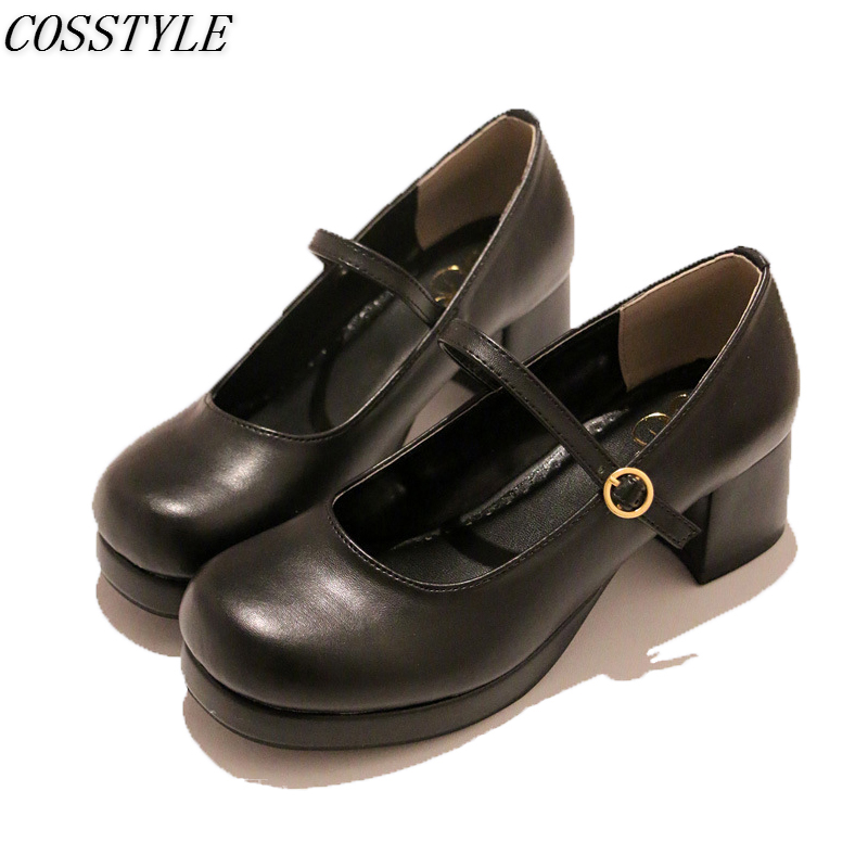 Japanese Style Mary Jane Shoes Lolita For Women College Girl Student LOLITA Shoes JK Uniform Shoes PU Leather High Heel Shoes