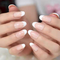 24pcs Classical Light Pink French Nail Pointed Simple Design White Tip UV Gel Nails Stiletto Flase Nails with glue sticker Z939