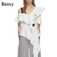 Asymmetric Frill Monochrome Stripe Crepe Top 2018 Self Portrait White Blouse Sexy Oblique Cold Shoulder Ruffle
