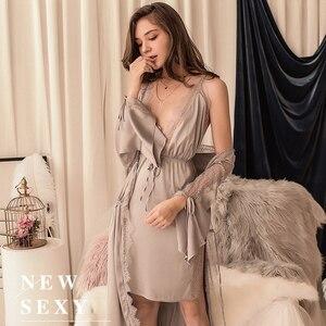 Image 3 - Sexy Bruidsmeisje Korte Satijnen Bruid Robe Lace Kimono Vrouwen Nachtkleding Zomer Vrouwelijke Badjas Lingerie Kleding Thuis Gewoon Een Gewaad