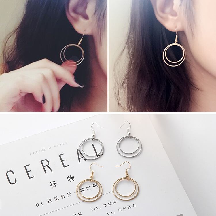 gold earrings 2017 fashion new earrings Simple geometric round earrings geometric lady t ...