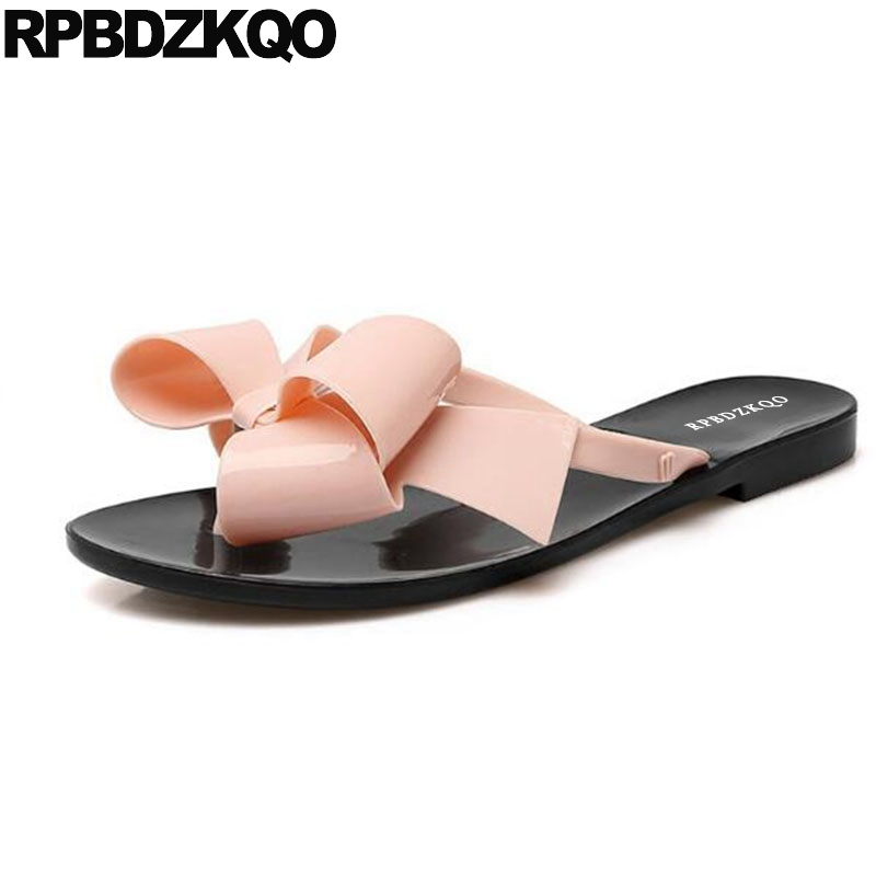 b5ef02491ef1 Female 2018 Large Size Shoes Pvc Plastic Slides Flip Flop Bowtie Jelly Cute Women  Sandals Flat Casual Korean Beach Wide Fit Bow