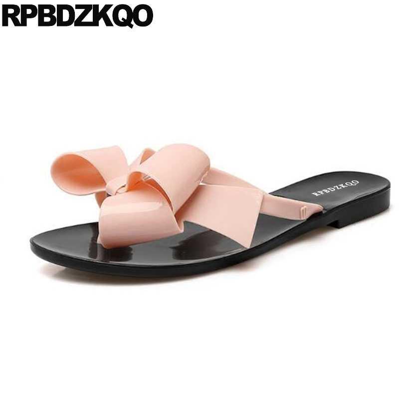760d36d38f63 Female 2018 Large Size Shoes Pvc Plastic Slides Flip Flop Bowtie Jelly Cute Women  Sandals Flat