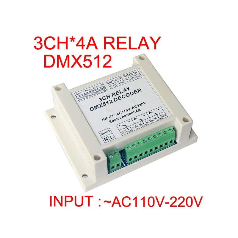 2015 nový vysoce kvalitní vstup 1 ks AC110-220V DMX-RELAY-3 kanálová dmx512 relé používají pro LED světla LED pásová světla