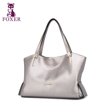 FOXER    Famous brand of high quality cowhide handbags women Simple Snake Print shoulder messenger bag