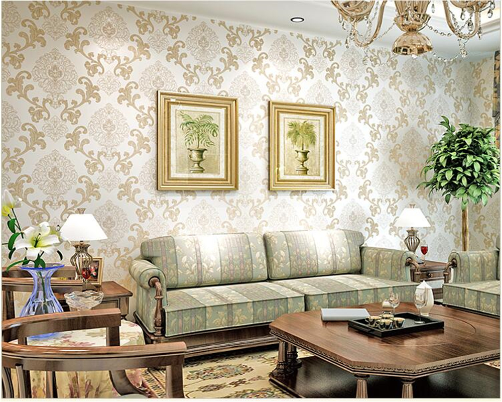 Beibehang papel de parede hudas beauté européenne damas en relief luxe noir non-tissé papier peint papier peint behang tapety