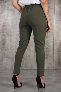 Image 2 - Harajuku Slim Pencil Trousers Women 2019 Spring Autumn Long Pants Khaki Green Black Casual Pants Belt Fashion Office Trousers