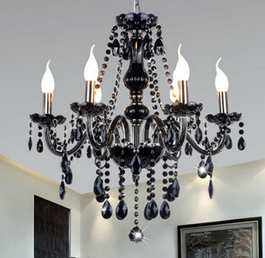 6 Leuchtet Moderne Kristall Wohnzimmer Lampe Home Beleuchtung Schwarz Kronleuchter E14 Kerze