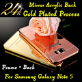 Para samsung galaxy Note5 caso de telefone de luxo Metal Frame de alumínio + acrílico espelho de volta caso capa para samsung galaxy Note 5 N9200