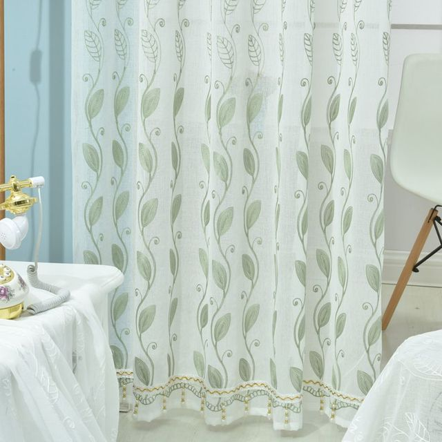 1pc Fresh Style Starfish Reed Pattern French Window Curtain Household Linen  Fabrics Organza Sheer Panel Curtains