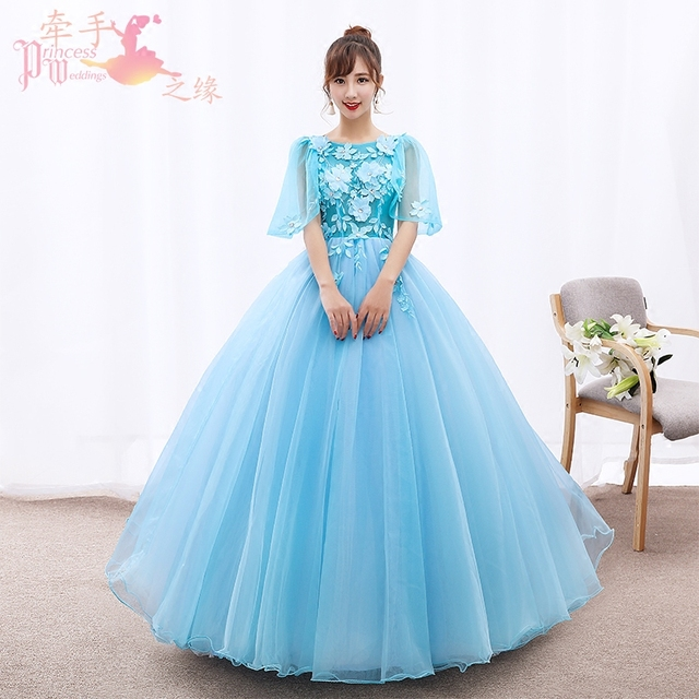 558abc65ae2 Ball Gown Quinceanera Dresses Sweet 16 Scoop Half Sleeve Lace-up Applique  Sheer Neck Tulle Light Blue Floor-Length Prom Gown