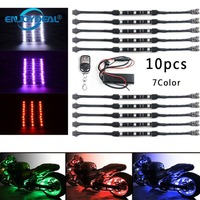 Universal 10PCS 7Color RGB Motorcycle Light Strip RGB LED Tail Glow Light Kit Remote Control Multi Color Car Styling