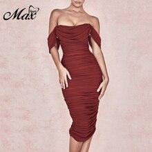 Max Spri Women Bodycon Party Dresses 2019 Fashion Elegant Off Shoulder Split Dress Summer New