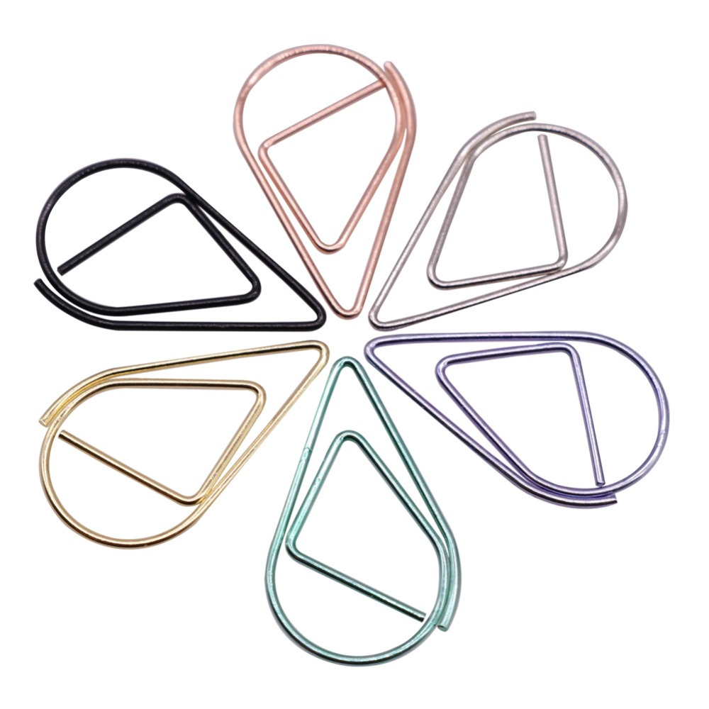 50 Pcs / Lot 2.5 * 1.5cm Modeling Paper Clips Metal Material Water Drop Shape Golden Silver Black Colored Bookmark Memo Clips