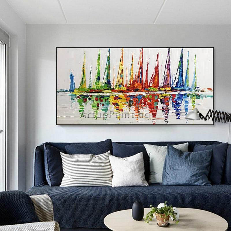 Akrylowy jacht statek łódź żeglarstwo malarstwo ręcznie malowane - Wystrój domu - Zdjęcie 2