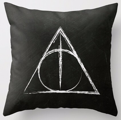 Hot Sale Deathly Hallows Harry Potter Wand Cape Ring Pillowcases Art Bedroom Zipper Cushion Decorative Square Pillow Cover