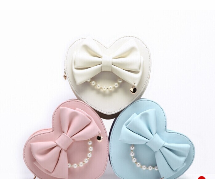 Princess sweet lolita bag Japanese bow tie sweet soft sister heart love bag girl heart single shoulder bag zipper Beads WW011 цена 2017