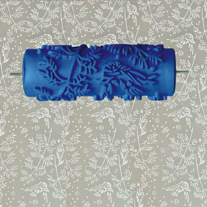 5inch blue rubber roller wall decoration painting roller,decorative wall paint roller without hand grip, leaves 002YB5inch blue rubber roller wall decoration painting roller,decorative wall paint roller without hand grip, leaves 002YB