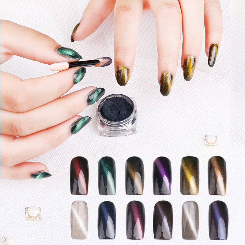 Multicolor 3D Cat Eye Magnetic Nail Art Dip Powder Decoration Chameleon Mirror Effect Pigment
