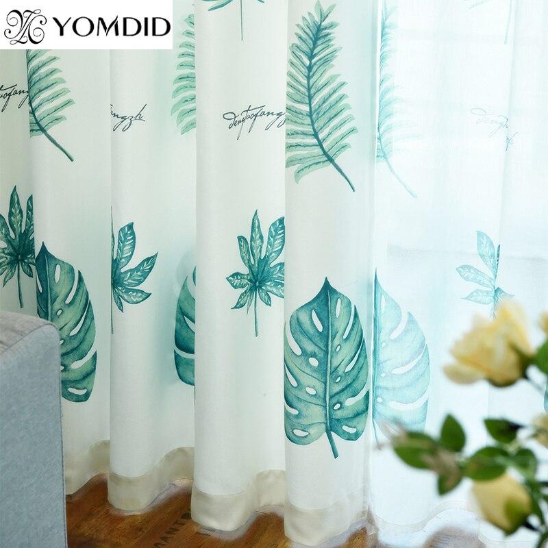 US $8.69 39% di SCONTO|Cotone pastorale tende di lino foglie Verdi piante  Tropicali tenda tulle per la Cucina soggiorno camera da letto tenda stile  ...