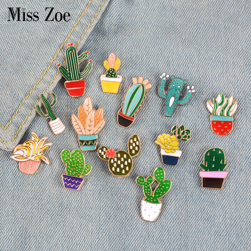 14Styles Potted Plant Rainbow Enamel Pins Custom Cactus <font><b>Cat</b></font> Brooches Backpack <font><b>Shirt</b></font> Lapel Pin Badge Fashion Cartoon Jewelry Kids image
