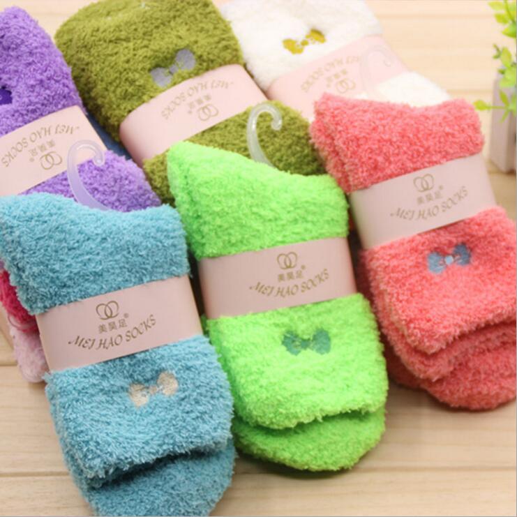 Women Girls Bed Socks Fluffy Warm Winter Soft Floor Socks·