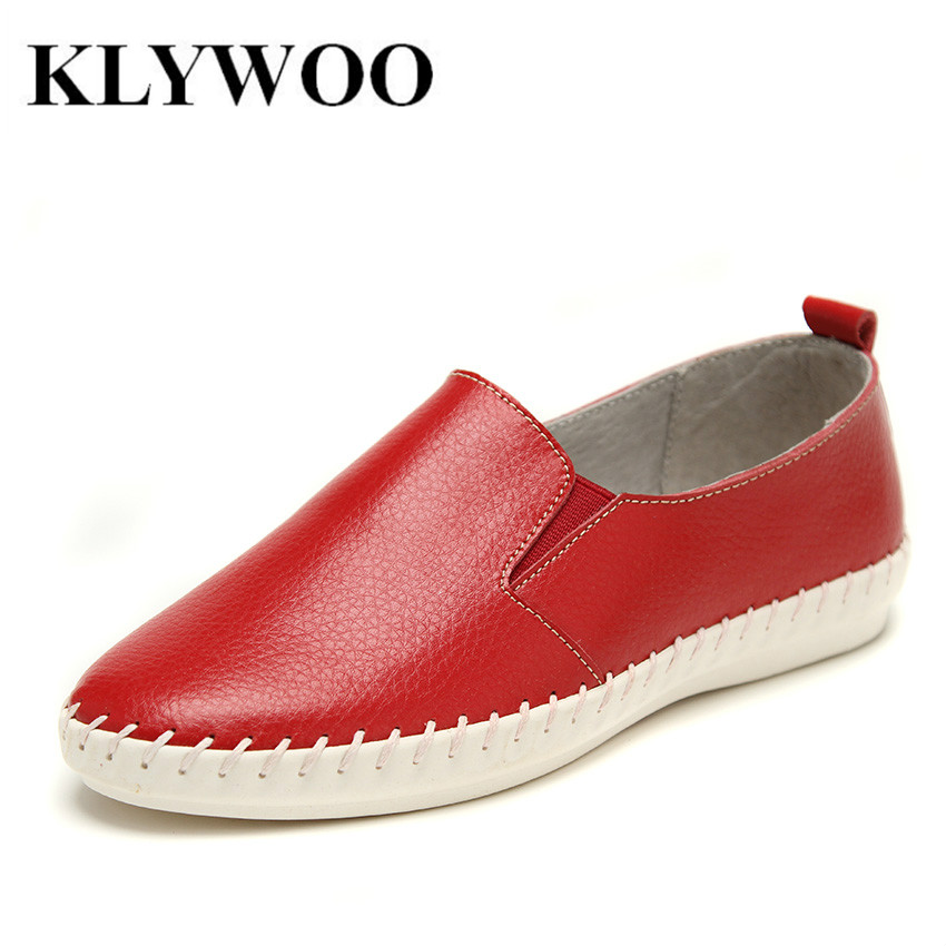 Lady Casual Shoes Fashion Solid Genuine Leather Loafers Women Flat Shoes Spring Summer Style