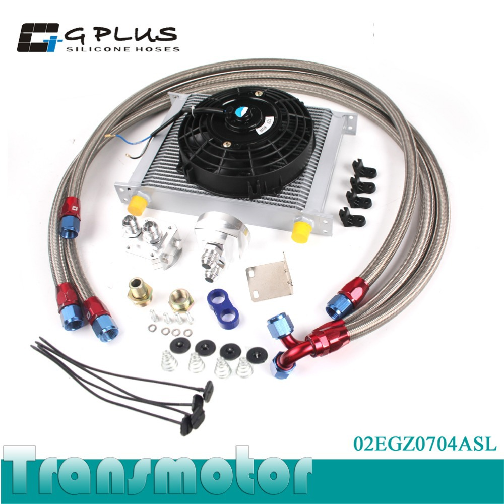 Universal 30 Row 10AN engine Transmission Oil Cooler KIT+ 7 Electric Fan Kit