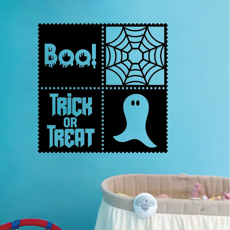 Boo Trick Or Treat Ghost Vinyl Decal Wall Sticker Fall Halloween Decor Art