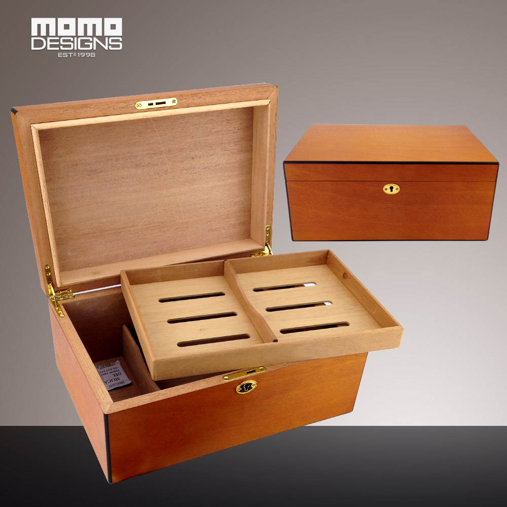 Cohiba humidor 100ct Cigarro caja de caja de regalo de madera de cedro España para hombres accesorios de fumar humidifie con bandeja