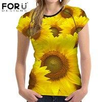 FORUDESIGNS Sunflower T Shirt Women Short Sleeve Top Tees Comfort Breath 3D Flower Tee Shirts Brand