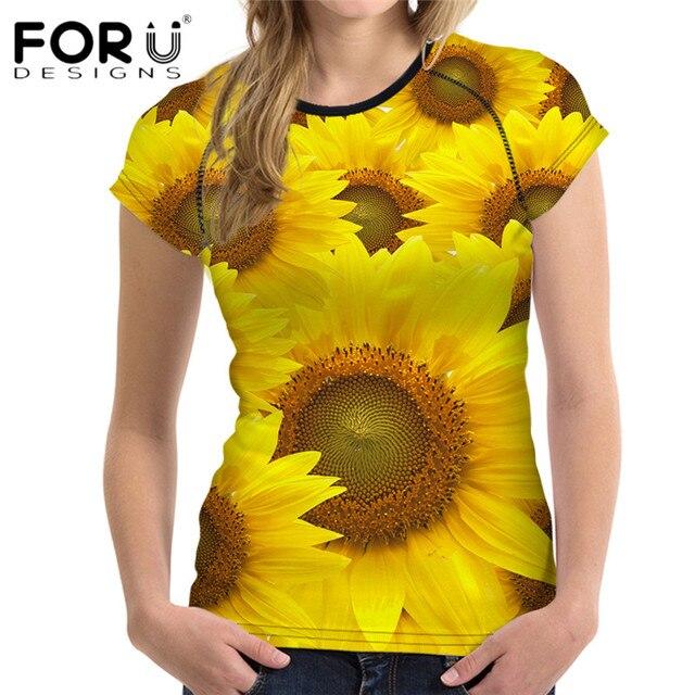 b622fb8ba FORUDESIGNS Girassol T Shirt Das Mulheres de Manga Curta Top Tees Conforto  Respiração 3D Flor Camisetas