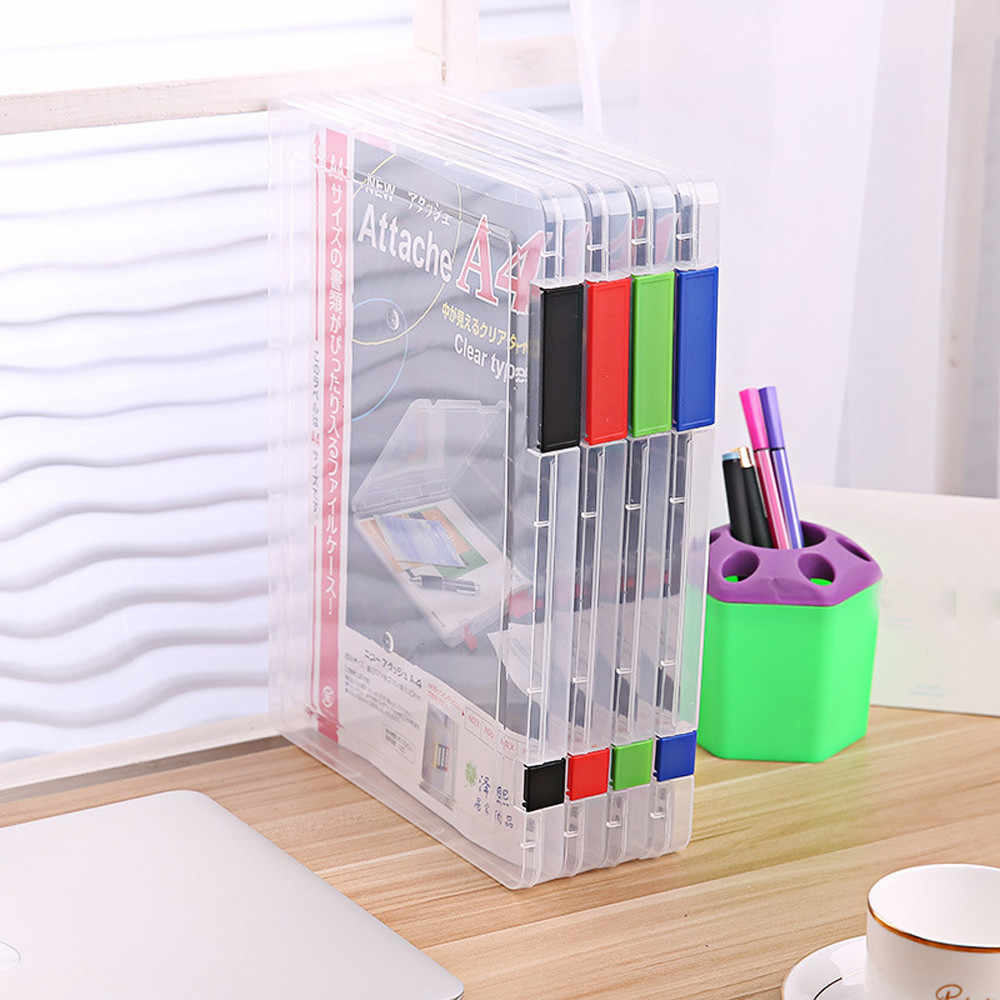 New Creative square A4 Transparent Storage Box Clear PP Plastic Document Paper Filling Case File stationery Desktop storage box