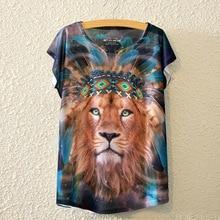 Drop ship 2017 Fashion Vintage Spring Summer Women Lady Girl Short Sleeve Lions Printed Shirt Tee Tops Print