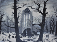 Winter Landscape Oil Painting Monastery Graveyard InSnow By David Friedrich Canvas Painting 24x34 For Christmas Home