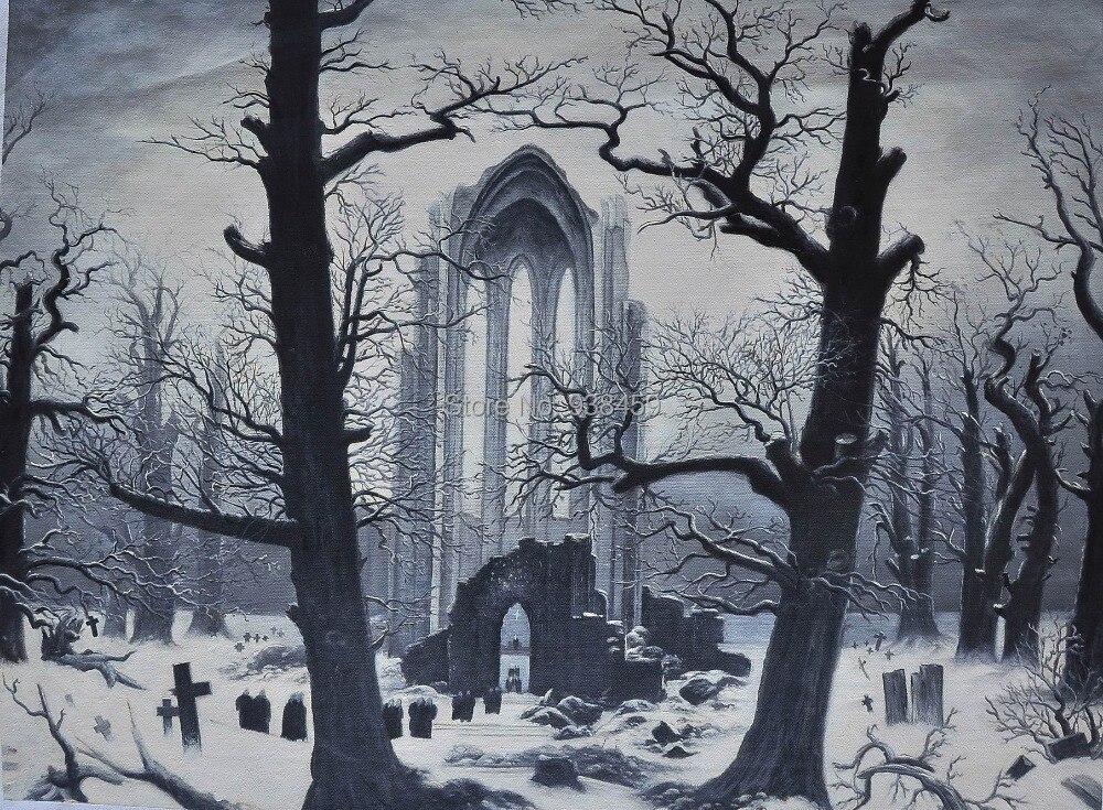 Winter Lanape Oil Painting Monastery Graveyard Insnow By David Friedrich Canvas For Christmas Home The Snow Caspar