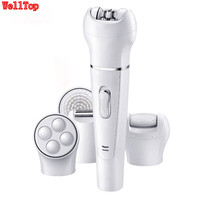 Rechargeable 5-in-1 Hair Removal Bikini Epilator Facial Brush/Massager/Callus Remover Multi-Function Beauty Kit for Women Face Skin Care Tools