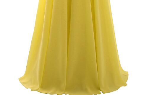 [Распродажа] шифоновое вечернее платье Длинное Элегантное длинное вечернее платье с блестками и бисером на шнуровке сзади милое - Цвет: Yellow