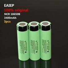 EAIEP 3PCS Original NCR18650B 3.7 v 3400 mah 18650 Lithium Rechargeable Battery  Flashlight batteries