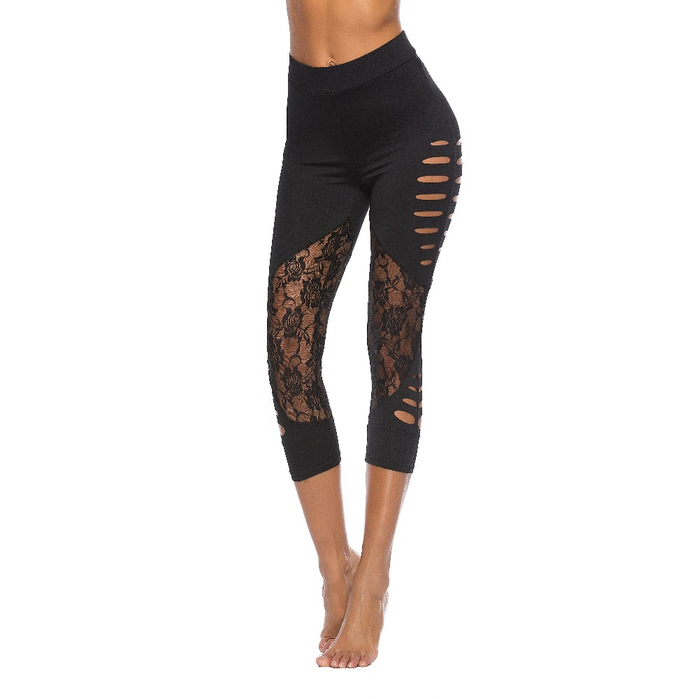 Womans Sexy Hollow Lace Stitching Leggings Women Leggins Elbows for Fitness Legins Push Up Workout Jeggings Tayt Sportlegging