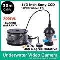 30 metros Cable CCTV bajo el agua pesca sistema de cámara 12 luces LED 700 TVLINES modelo CR-006C30m